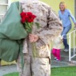 Stock Video: Family Welcoming Husband Home On Army Leave