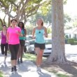 Stock Video: Group Of Female Runners Warming Up Before Run