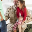 Children Greeting Military Father Home On Leave — Stock Photo #27552919