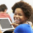 Pupil In Class Using Digital Tablet — Photo