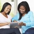 Two Women Sitting On Sofa With Tablet Computer — Stock Photo