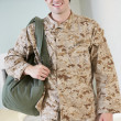 Male Soldier With Kit Bag Home For Leave — Stock Photo