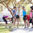 Group Of Runners Warming Up Before Run — Stock Photo