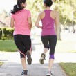 Rear View Of Two Female Runners On SuburbStreet — Stock Photo #27553459