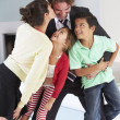 Family Greeting Father On Return From Work — Stock Photo