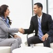 Businessman And Businesswoman Shaking Hands After Meeting — Stock Photo