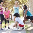 Stock Photo: Group Of Female Runners Warming Up Before Run