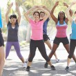 Stockfoto: Group Of Exercising Street With Personal Trainer
