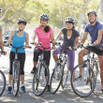 Portrait Of Cycling Club On Suburban Street — Stock Photo