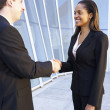 Businessman And Businesswomen Shaking Hands Outside Office — Stockfoto #27554173