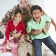 Children Greeting Military Father Home On Leave — Photo