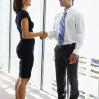 Businessman And Businesswomen Shaking Hands In Office — Stock Photo