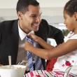 Daughter Straightens Father's Tie Before He Leaves For Work — Stock Photo