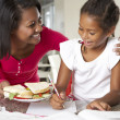 Mother Brings Daughter Sandwich Whilst She Studies — Stock Photo #27554691