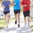 Group Of Male Runners Exercising On SuburbStreet — Stock Photo #27554911