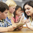 Pupils In Class Using Digital Tablet With Teacher — Stock Photo