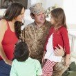 Family Greeting Military Father Home On Leave — Stock Photo #27555263