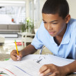 Foto de Stock  : Boy Doing Homework In Kitchen