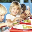Elementary Pupils Enjoying Healthy Lunch In Cafeteria — Stock Photo #27555549