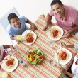 Overhead View Of Family Eating Meal Together — Stock Photo
