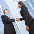 Businessman And Businesswomen Shaking Hands Outside Office — Foto de Stock