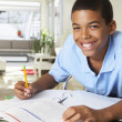 Boy Doing Homework In Kitchen — Stok Fotoğraf #27555811