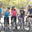 Cycling Club Meeting On SuburbStreet — Stock Photo #27555955