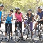 Cycling Club Meeting On Suburban Street — Stock Photo