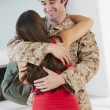 Stock Photo: Wife Greeting Military Husband Home On Leave