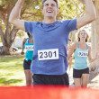 Male Runner Winning Marathon — Stock Photo