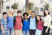 Group of Elementary Pupils Outside Classroom With Teacher — Stock Photo