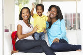 Woman Visiting Pregnant Friend With Son At Home — Stock Photo