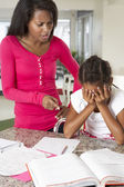 Angry Mother Telling Off Daughter About Homework — Stock Photo