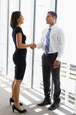 Businessman And Businesswomen Shaking Hands In Office — Zdjęcie stockowe