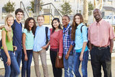 Group Of Teenage Pupils With Teacher Outside Classroom — Stock Photo