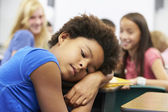 Unhappy Girl Being Bullied In Class — Stock Photo