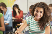 Portrait Of Female Pupil Studying At Desk In Classroom — Stock Photo