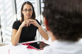 Businesswoman Interviewing Male Candidate For Job — Stock Photo