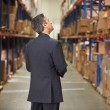 Stock Photo: Rear View Of Manager In Warehouse