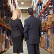 Rear View Of Businesswoman And Businessman In Warehouse — Stock Photo