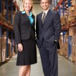 Stockfoto: BusinesswomAnd BusinessmIn Distribution Warehouse
