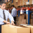 Manager In Warehouse Checking Boxes — Stock Photo #36835605