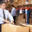 Stockfoto: Manager In Warehouse Checking Boxes