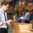 Manager In Warehouse Checking Boxes Using Digital Tablet — 图库照片 #36835613
