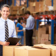 Manager In Warehouse Checking Boxes — Stok fotoğraf