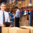 Manager In Warehouse Checking Boxes — Stockfoto #36835615