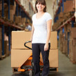BusinesswomPulling Pallet In Warehouse — Stock Photo #36835659