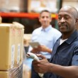 Manager In Warehouse With Worker Scanning Box In Foreground — Stock Photo #36835695