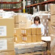 Worker In Warehouse Preparing Goods For Dispatch — Stock Photo