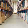 Interior Of Warehouse With Goods On Shelves — Stock Photo